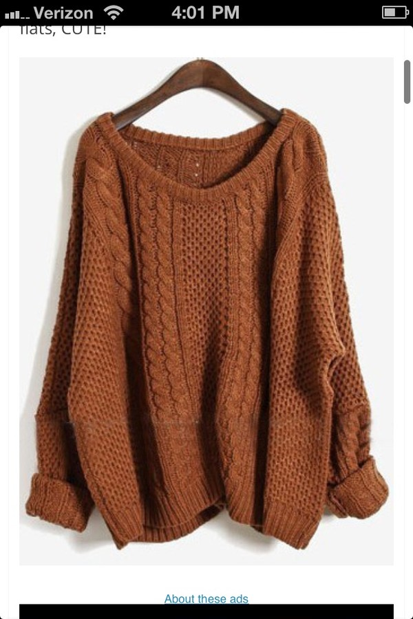 Sweater: dark orange, knitwear, oversized sweater, brown ...