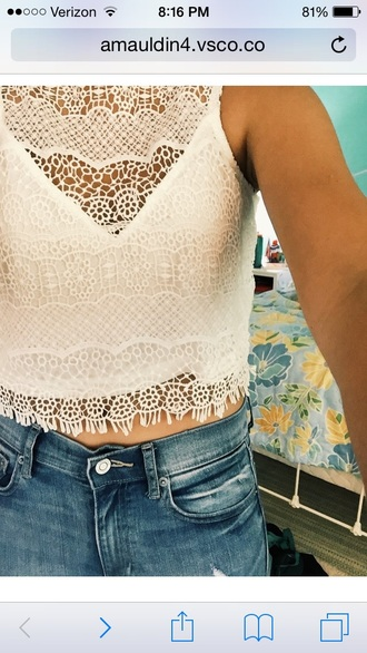 shirt white lace crop tops sleeveless sleeveless top