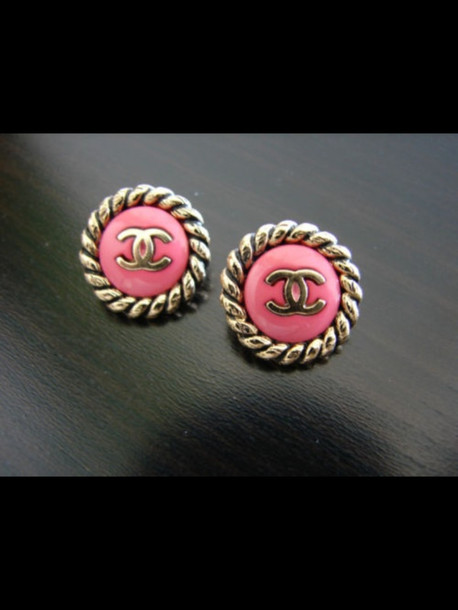 jewels chanel pink gold earrings