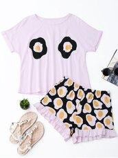 pajamas,egg,cool,cute,summer,kawaii,white,zaful