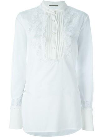 shirt women floral white cotton silk top