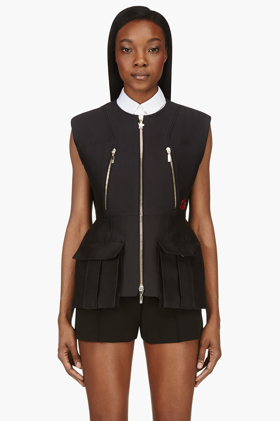Moncler gamme rouge black nip waist zippered cargo vest
