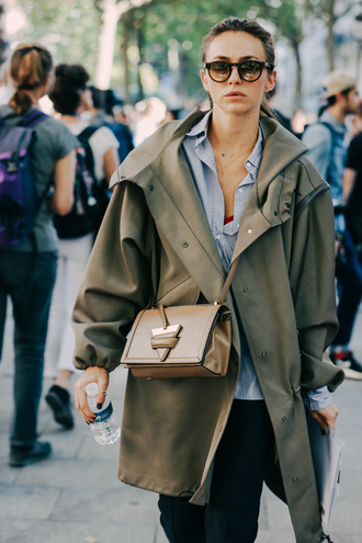 jacket tumblr army green jacket shirt bag camel bag crossbody bag streetstyle blue shirt sunglasses pants black pants