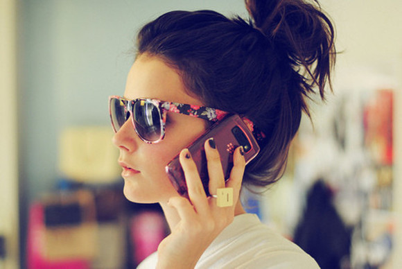 phone sunglasses floral floral sunglasses blackberry ring indie hair brunnette bun messy bun summer