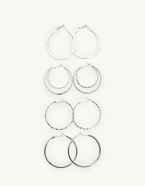 Stradivarius earrings hoop earrings grey jewels