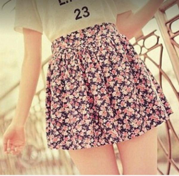 skirt floral skirt pink skirt t-shirt white t-shirt vintage