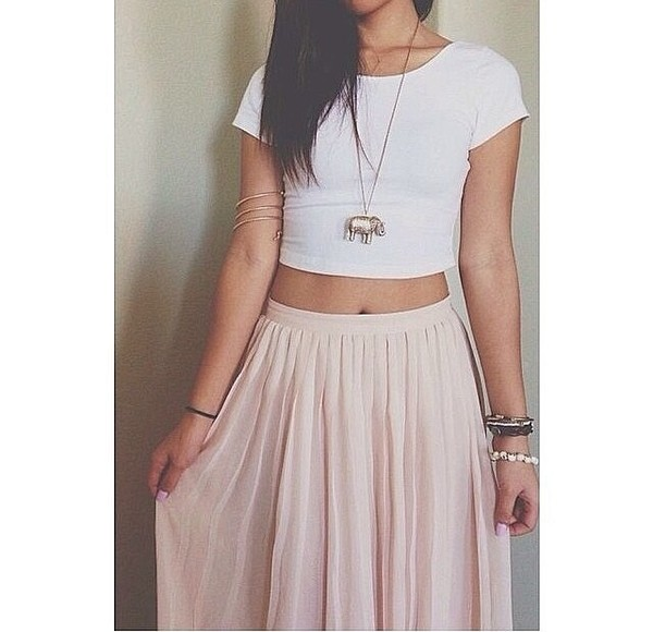 shirt white crop tops white pink skirt pastel pastel pink crop tops tumblr necklace bracelets jewels t-shirt skirt