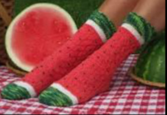 scarf watermelon print cute socks long socks red green