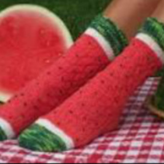 red scarf cute socks watermelon print long socks green scarf red
