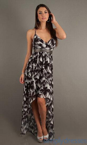 dress v neck dress spaghetti strap empire waist pattern cross over top black and white high-low dresses