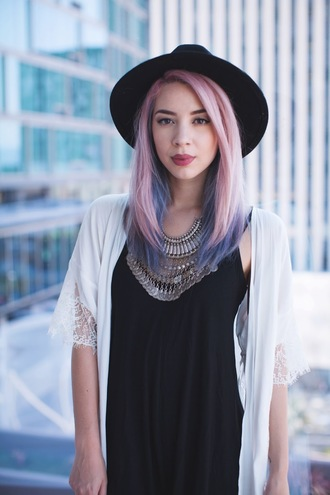 leanne lim walker blogger coin necklace pastel hair black hat pink hair