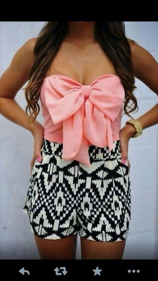 shorts aztec short shirt aztec print black and white pink bow , aztec shorts tank top dress