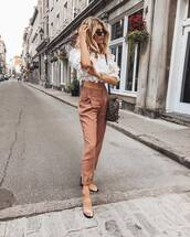 pants,mules,high waisted pants,mini backpack,crop tops,off the shoulder top,sunglasses