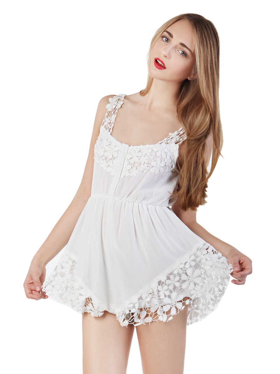 Choies Design Limited White Angel Romper Playsuit With Lace Hem - Choies.com