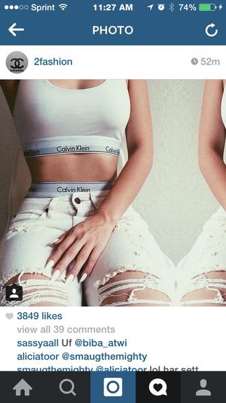 top sports bra jeans white jeans ripped jeans calvin klein underwear