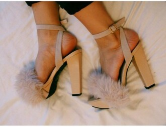 shoes chunky sole heels fur faux fur style cute platform shoes strappy strappy heels pink chic