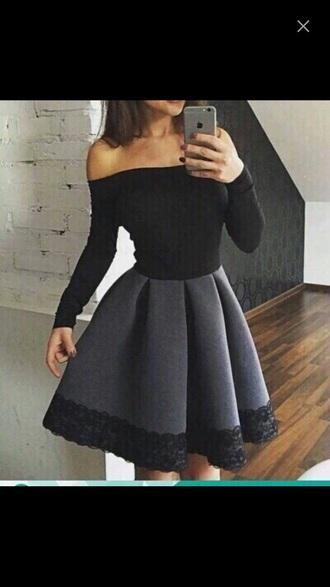 dress black grey lace