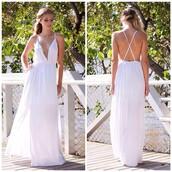 dress,prom,white,maxi,backless,side split,summer,shopfashionavenue
