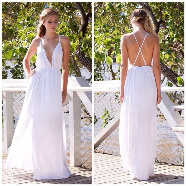 Dress Prom White Maxi Backless Side Split Summer