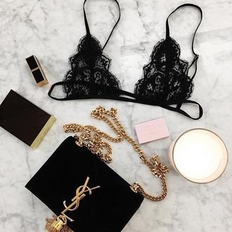 underwear black lace ysl cute bralette bra