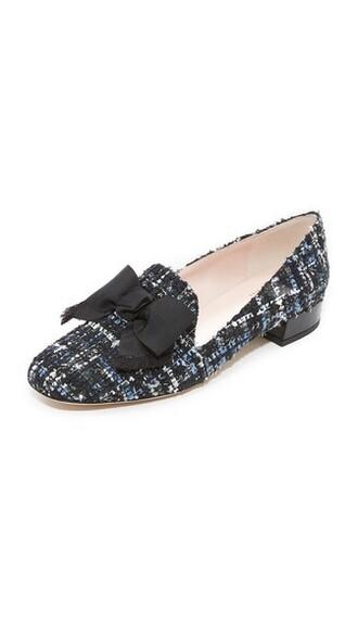 bow flats blue black shoes