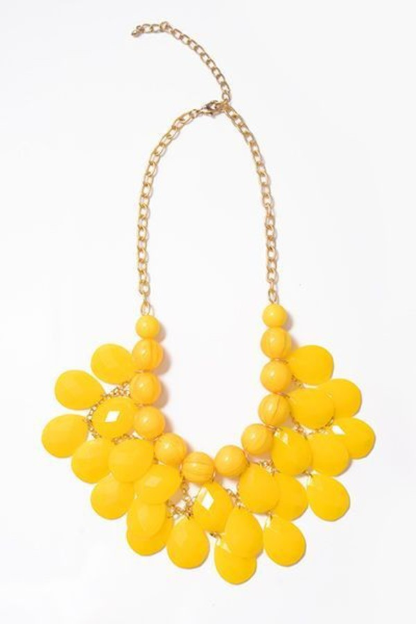 jewels yellow yellow necklace necklace accessories bold bold color stand out statement necklace get it style fashion