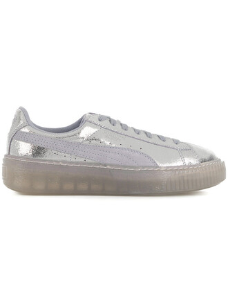 women sneakers platform sneakers leather grey metallic shoes