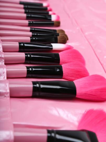 24 pcs makeup brush kit with pink case