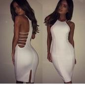 dress,white dress,glamour,bodycon dress,halter dress,clothes