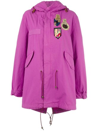 coat women cotton silk wool purple pink