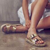 shoes,slide shoes,metallic slides,gold sandals
