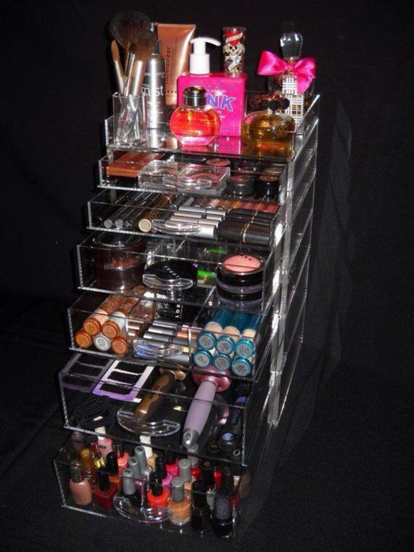 6252b39173cc Amazon.com: Cq acrylic Large 9 Tier Clear Acrylic Cosmetic Makeup ...