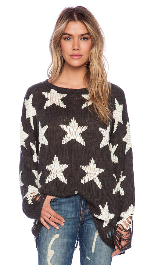 Wildfox couture seeing stars lennon sweater in dirty black from revolveclothing.com