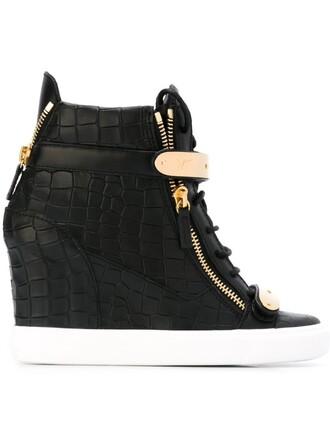 sneakers crocodile wedge sneakers black shoes