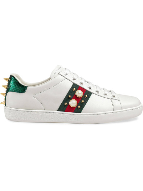 studded women sneakers leather white shoes