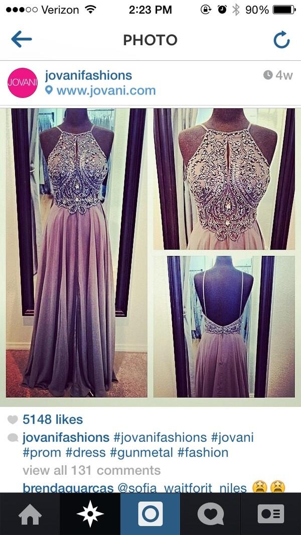 dress pewter prom dress jovani prom dress