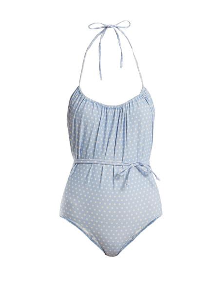 print blue swimwear