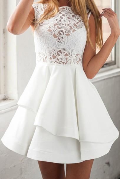 dress, white dress, lace, white lace, lace dress, skater dress, dolly  skater dress, sleeveless, zaful, summer, summer dress, boho, boho chic,  gorgeous dress ...