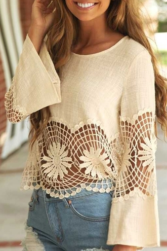 top summer long sleeves beach spring cute trendy cream