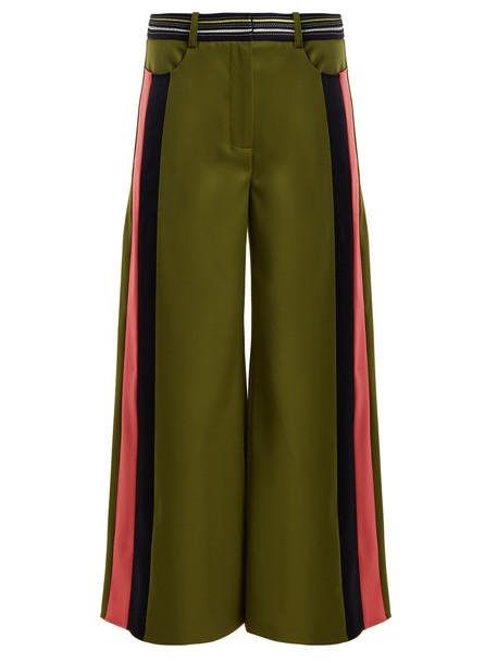 culottes high wool khaki pants