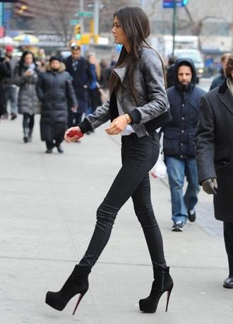 shoes jacket pants black gray heels high heels