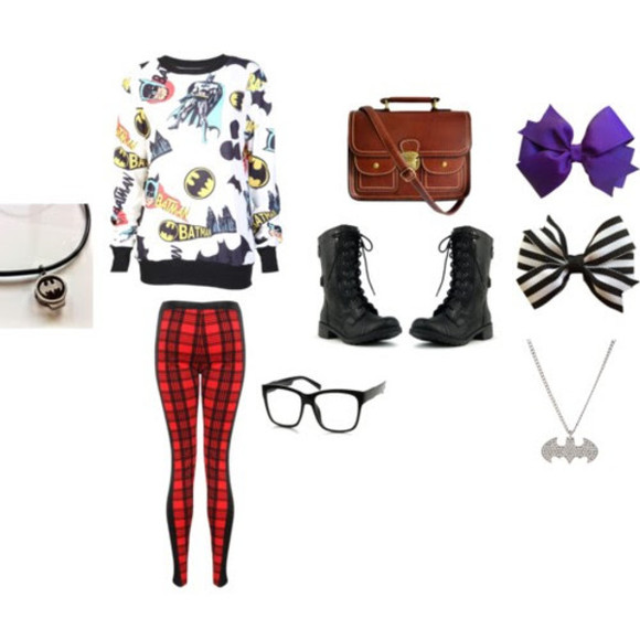bows shirt sweater satchel necklace batman combat boots pants