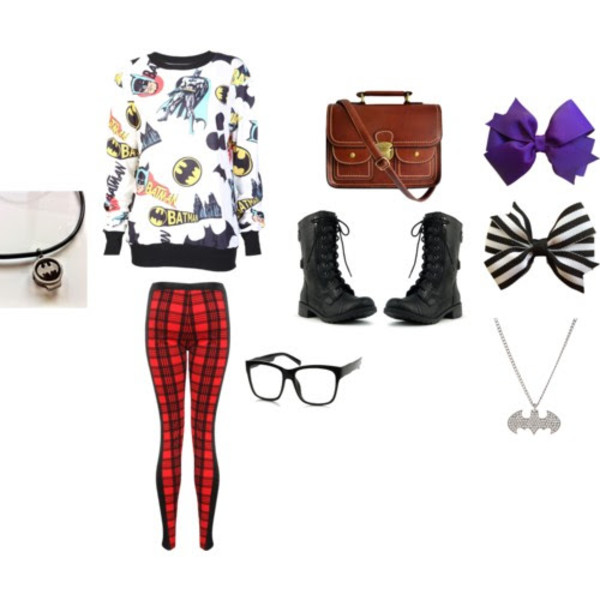 shirt necklace bows sweater batman combat boots pants bag bow satchel bag black boots