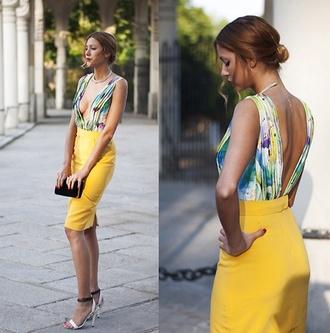 dress floral bodycon plunge v neck spring summer cocktail dress stylish yellow skirt top bodysuit backless backless top plunging back deep v back plunge neckline