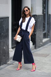 shoes,sandals,red sandals,overalls,wide leg overall,top,white top,sunglasses