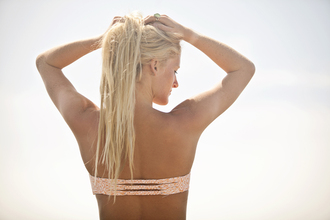 swimwear swimsuit bikini bikini top print bandeau bandeau swimsuit back detail strappy bikini braided crochet crochet bikini