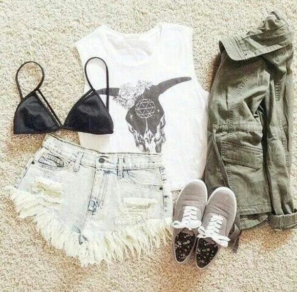 black bikini top crop tops shorts white grey indian boots flower crown hipster jacket shoes t-shirt skull