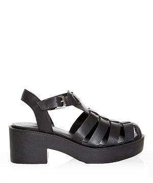 66bfc13f0ad Black Chunky Caged Sandals