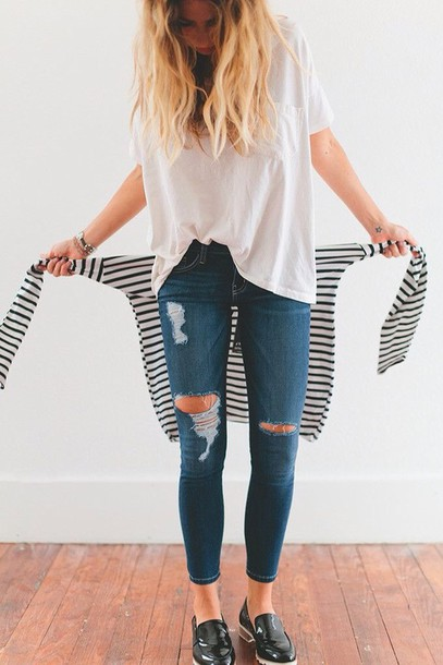 jeans black and white stripes striped shirt
