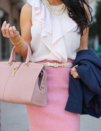 blouse elegant top classy skirt blazer purse necklace bag belt ruffled top the working girl office outfits pink skirt pencil skirt designer pink bag